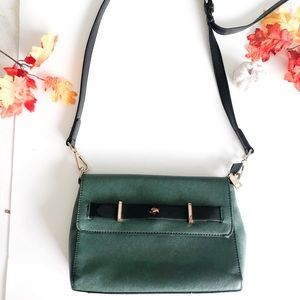 Vintage Green and Black Crossbody Purse